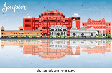 Jaipur Skyline with Color Landmarks, Blue Sky and Reflections. Vector Illustration. Business Travel and Tourism Concept with Historic Buildings. Image for Presentation Banner Placard and Web Site.