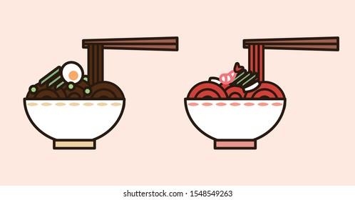 Jajangmyeon and  jjamppong illustration. asian food