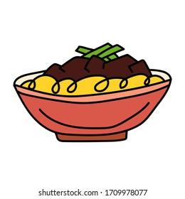 Jajangmyeon. Korean dish. Vector hand drawn illustration. Concept for cafe, restaurant.