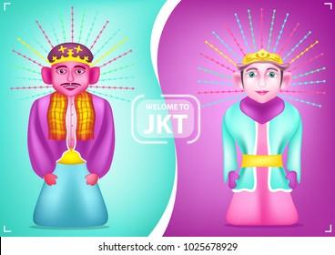 Jakarta Anniversary Ondel-ondel Traditional Puppet Mascot Symbol from Indonesia
