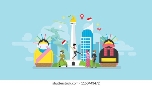 Jakarta Celebrating Indonesia Independence Day Tiny People Character Concept Vector Illustration, Suitable For Wallpaper, Banner, Background, Card, Book Illustration, And Web Landing Page