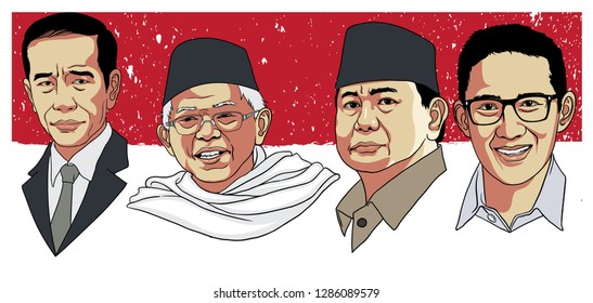 Jakarta, Indonesia - April 17, 2019: indonesian presidential election. with two pairs candidate. Jokowi/Ma'ruf and Prabowo/Sandi.
