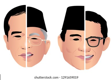Jakarta, Indonesia - April 17, 2019: In the presidential election,Jokowi and Ma'ruf  against Prabowo and Sandiaga Uno