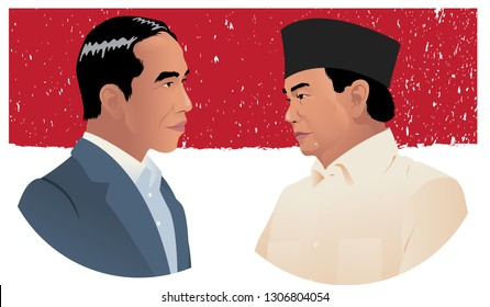 Jakarta, Indonesia - April 17, 2019: indonesian presidential election. Jokowi against Prabowo.