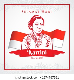 JAKARTA, INDONESIA - APRIL 21, 2018: Kartini Day. vector illustration R.A Kartini, the heroes of women education and human right in Indonesia