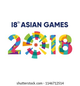 Jakarta, Indonesia - August 1, 2018: Event Asian Games 2018 Colorfull logo Vector Illustration
