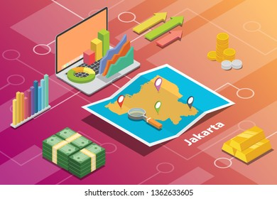 jakarta indonesia city isometric financial economy condition concept for describe cities growth expand - vector illustration