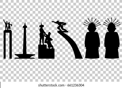 Jakarta, Indonesia Icon In Silhouette