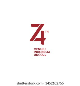 Jakarta, Indonesia: July 16 2019: Anniversary Logo of Republic of Indonesia Independence. 74 Years of Independence of Republic of Indonesia (Red on White)