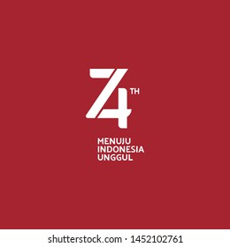 Jakarta, Indonesia: July 16 2019: Anniversary Logo of Republic of Indonesia Independence. 74 Years of Independence of Republic of Indonesia (White on Red)