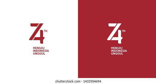 Jakarta, Indonesia: June 24 2019: Anniversary Logo of Republic of Indonesia Independence. 74 Years of Independence of Republic of Indonesia