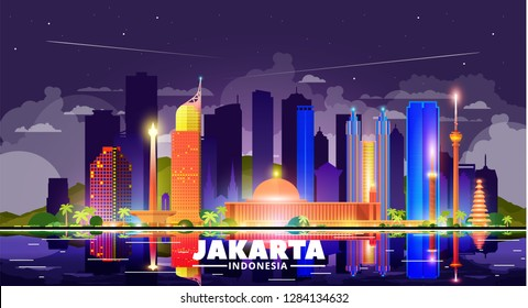 Jakarta (Indonesia) night city skyline on a skay background. Flat vector illustration. Business travel and tourism concept with modern buildings. Image for banner or web site.