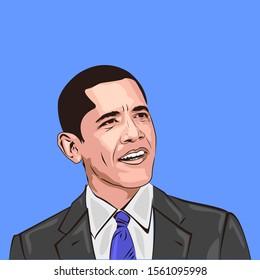 Jakarta, Indonesia - November 16 2019 : Barack Obama portrait vector. Smile. cartoon Caricature   President of USA. Smile.