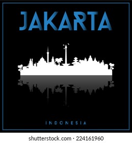 Jakarta, Indonesia, skyline silhouette vector design on parliament blue and black background.