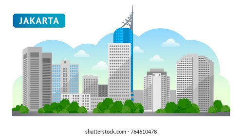 Jakarta. Travel to Indonesia. Beautiful horizontal panoramic view. Morning, afternoon, day, sunrise, dawn. Vector flat illustration.