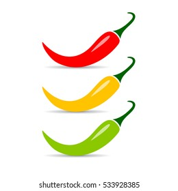 Jalapeno chili pepper vector icon isolated on white background. Hot red chili pepper vector icon.