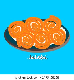 Jalebi Gujrati indian Street Food with Text Vector