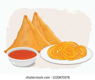 Jalebi and Samosa-Indian food vector illustration