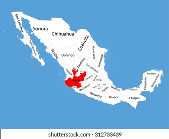 Jalisco Mexico Map Images, Stock Photos & Vectors | Shutterstock on