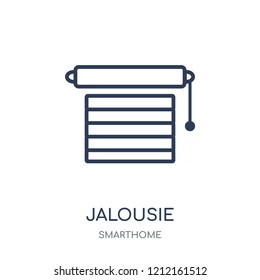 Jalousie automation icon. Jalousie automation linear symbol design from Smarthome collection. Simple outline element vector illustration on white background.