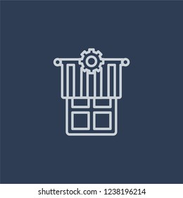 Jalousie automation icon. Trendy flat vector line Jalousie automation icon on dark blue background from smart home collection.