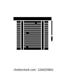 Jalousie black icon, vector sign on isolated background. Jalousie concept symbol, illustration