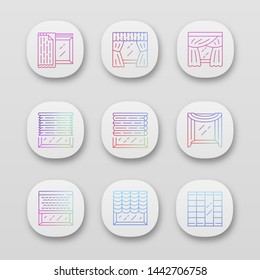 Jalousie and curtains app icons set. Cellular shades, window treatment set, liner. Home, office interior accessory. UI/UX user interface. Web or mobile applications. Vector isolated illustrations