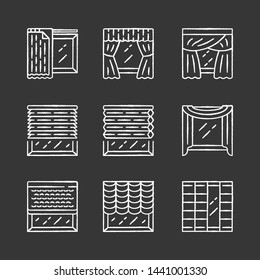 Jalousie and curtains chalk icons set. Cellular shades, window treatment set, scarf, liner. Home, office interior accessory. Living room, kitchen, decoration. Isolated vector chalkboard illustrations
