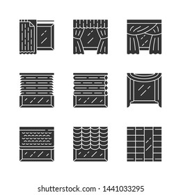 Jalousie and curtains glyph icons set. Cellular shades, window treatment set, scarf, liner. Home, office interior accessory. Living room decoration. Silhouette symbols. Vector isolated illustration