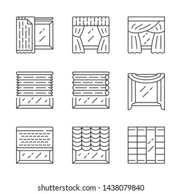 Jalousie and curtains linear icons set. Cellular shades, window treatment set, liner. Home, office interior decor. Thin line contour symbols. Isolated vector outline illustrations. Editable stroke