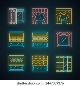 Jalousie and curtains neon light icons set. Cellular shades, window treatment set, scarf, liner. Home interior accessory. Living room, kitchen, decoration. Glowing signs. Vector isolated illustrations