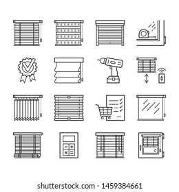 Jalousie linear icons set. Window blinds thin line editable stroke vector signs. Screwdriver, roller shutters, shopping cart, measuring, quality, assurance, business