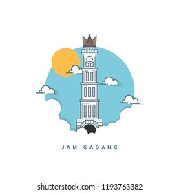 Jam gadang bukittinggi logo vector