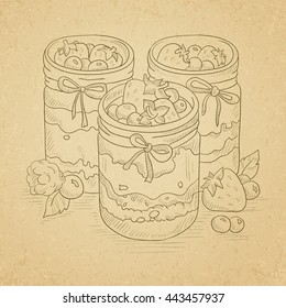 Jam in glass jars and fresh berries. Hand drawn on old paper vintage background. Vector sketch illustration.