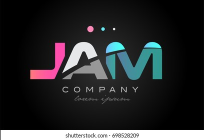 JAM j a m three 3 letter logo combination alphabet vector creative company icon design template modern  pink blue white grey
