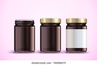 Jam jar package design, glass jar mockup with blank label in 3d illustration, pink background