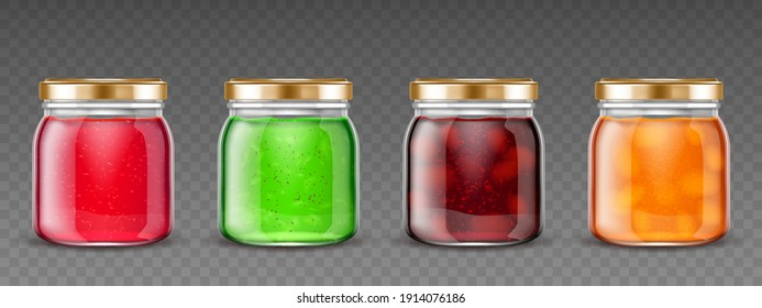 Jam jars, glass containers with fruit jelly, colorful gelatin marmalade packs with cap mock up design. Blank different color preserve tubes isolated on transparent background, Realistic 3d vector set