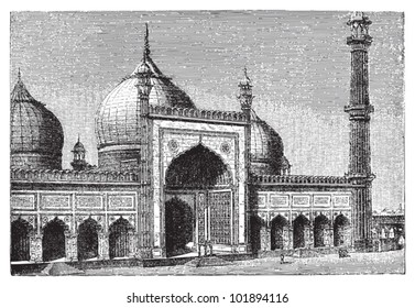 Jama Masjid mosque in Delhi / vintage illustration from Brockhaus Konversations-Lexikon 1908