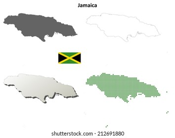 Jamaica blank detailed outline map set - vector version