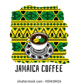 Jamaica coffee illustration. Gift shop or touristic concept in ethnic boho style in Jamaican color flag.