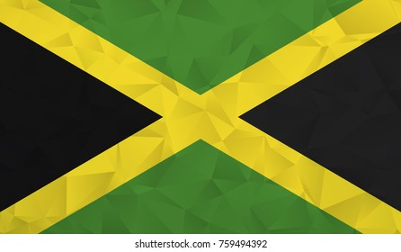 Jamaica flag - geometric rumpled triangular low poly style gradient graphic, polygonal design for your. Vector illustration eps 10.