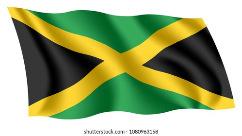 Jamaica flag. Isolated national flag of Jamaica. Waving flag of Jamaica. Fluttering textile jamaican flag. The Cross, Black, green, and gold.