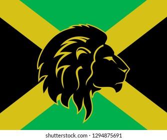 jamaica flag, lion head, reggae concept