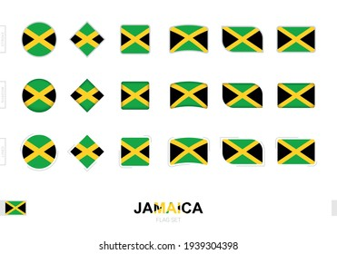 Jamaica flag set, simple flags of Jamaica with three different effects. Vector illustration.