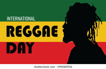Jamaica flag and silhouette of a man with dreadlocks hair. Words and alphabet of International Reggae Day on July 1. Celebration of reggae music and culture