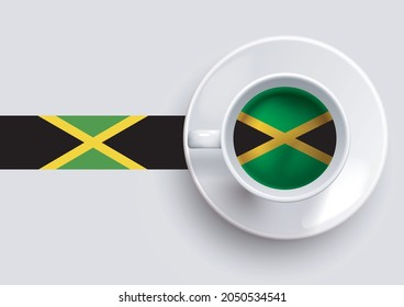 Jamaica flag with a tasty coffee cup on top view and a gradient background. Hot beverage with Jamaica flag, vector illustration.
