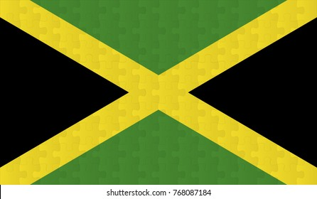 Jamaica Flag. Vector image of Jamaica Flag 144 pieces of jigsaw puzzles Vector eps 10 illustration.