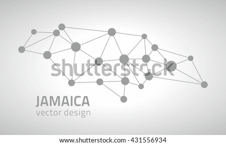 Jamaica Grey Vector Outline Map America Stock Vector (Royalty Free ...