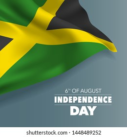 Jamaica happy independence day greeting card, banner, vector illustration. National day 6th of August background with elements of flag, square format