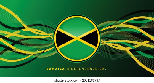 Jamaica Independence day vector illustration with Jamaica Flag in circle design and abstract background. good template for Jamaica National day design.